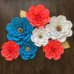 A personal favorite from my etsy shop httpsetsylisting vibrant colorful paper flower backdrop for swtluvnlana colors coral turquoise white and gold paperflower gold coral white handmade torquise mightylinksfo