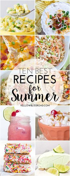 Summer Recipes - Yellow Bliss Road 10 Best Recipes for Summer. summer appetizers and dips, veggie salads, pasta salads, grilled meat, frozen drinks and treats - there's definitely something for everyone! Summer Recipes, Great Recipes, Favorite Recipes, Diy Spring, Good Food, Yummy Food, Picnic Foods, Summer Treats, Yummy Eats