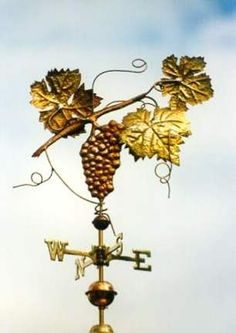 Cabernet Sauvignon Grape Weathervane by West Coast Weather Vanes.  This handcrafted Cabernet Sauvignon weathervane can be custom made using brass and copper with optional gold or palladium leafing.