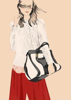 Chloé jul12  by Sandra Suy - Pencil, Watercolor illustration. Fashion, Beauty