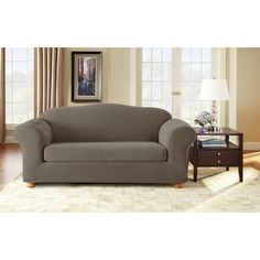 Found it at Wayfair - Stretch Pique Separate Seat Sofa Slipcover