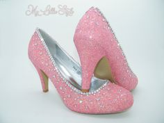 Blush baby pink iridescent glitter with AB rhinestones Bridal Bride Bridesmaid Maid of honor Mothers day Gift for mum Wife present Sweet 16 Bling Heels, Glitter High Heels, Bridal Heels, Wedding Heels, Court Heels, Bridesmaid Shoes, Mary Jane Heels, Evening Shoes, Birthday Gifts For Her