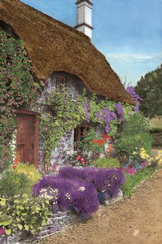 Thatched cottage with English garden.