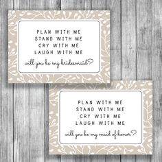 Printable Bridesmaid Proposal - Will You Be My bridesmaid card - Free Maid of Honor Card - Instant Download - C040 by deardeary on Etsy