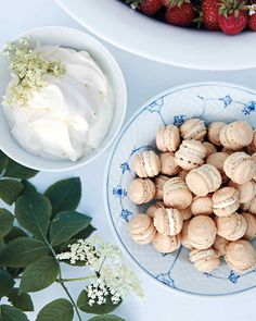 Toasted Almond Macarons with White Chocolate. Perfect for an all-white baby shower.