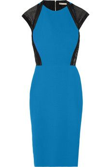 Victoria Beckham Mesh-trimmed silk and wool-blend dress | NET-A-PORTER