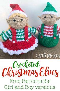 62 Ideas For Crochet Christmas Elf Free Pattern Elves Crochet Christmas Ornaments, Christmas Crochet Patterns, Holiday Crochet, Crochet Gifts, Christmas Elf, Crochet Dolls, Free Crochet, Crochet Angels, Crochet Snowflakes
