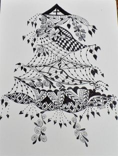 christmas zentangle pictures | Zentangle Christmas Tree by Bevie