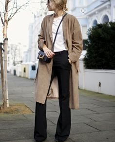 flared trousers + suede coat + tiny cross body bag