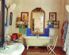 François Halard designed the bathroom in his Arles home as an homage to Matisse. An oversize gilded mirror, footed enamel tub, and a Moroccan rug offer charming respite. - Photographed by François Halard, Vogue, September 1996 House Design, Interiors Dream, House Interior, House Rooms, House, Interior, Romantic Room, Home Decor, Romantic Interior