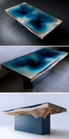 Stare into the deep blue darkness of the Abyss Dining Table