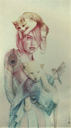 """ARTIST: Oriol Angrill Jordà ~ """"The girl, the cat, the lion, the bird"""""""