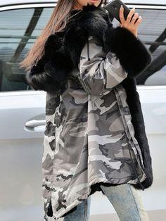 Military Hooded Faux Fur Line Parkas Women's Overcoat