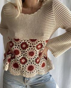 Crochet Tops, Chrochet, Sweater Jacket, Crochet Clothes, Boho Shorts, Crochet Patterns, Pullover, Stitch, Blouse