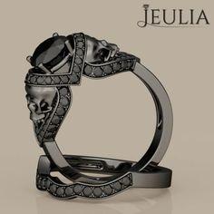 Jeulia 2.0 CT Round Cut Created Black Diamond Skull Ring