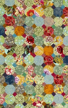 Snowball quilt pattern in Kaffe Fassett's Museum Quilts: Designs Inspired by the Victoria & Albert Museum.  Note; need to pre-plan corners.