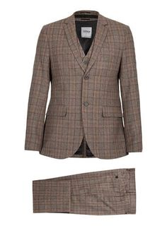 TOPMAN - Premium Brown Checked Three Piece Suit