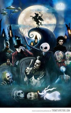 Tim Burton's films all in a single painting.