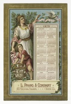 Calander Ad From L. Prang & Company -Art And Educational Publishers  c.1879