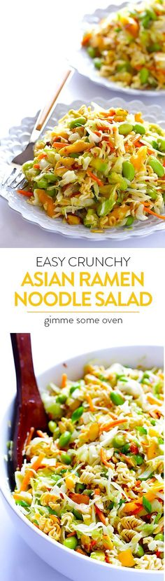 Crunchy Asian Ramen Noodle Salad (a. Basically the Best Potluck Salad EVER) Crunchy Asian Ramen Noodle Salad — quick and easy to make, lightened up from the original, and always a crowd favorite! I Love Food, Good Food, Yummy Food, Vegetarian Recipes, Cooking Recipes, Healthy Recipes, Asian Ramen Noodle Salad, Ramen Noodles, Noodle Salads