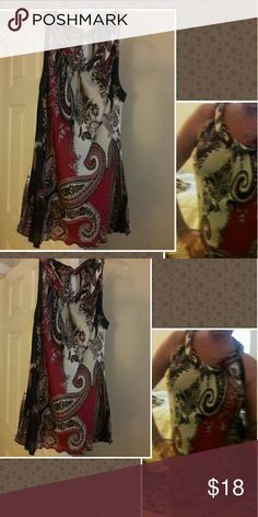 PRETTY SILKY SHIRT! SIZE LARGE NICE SILKY SHIRT,  CUTE WITH SHORTS, JEANS, OR DRESS IT UP,  WORN ONCE new directions Tops