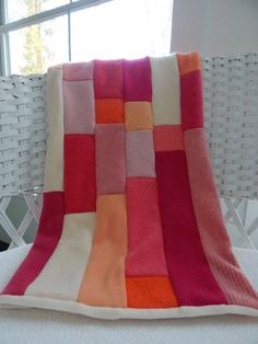 Recycled Cashmere Baby Blanket - Pink, Cream, Coral and Orange