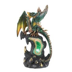 """Jade Fire Lighted Faux Green Geode Dragon Mythic Figure - Collectible Figurines, 3 AAA batteries required, 5 x 3.8 x 9"""", $23.75 + $5.49 shipping = $29.24  Amazon.com - Gifts & Decor"""