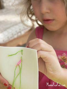 preschooler sewing fine motor skills ///  plastic needles, embroidery thread and craft foam