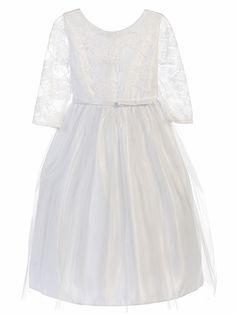 White Lace ¾ Sleeve Tea Length Dress