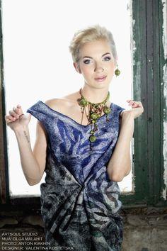 "Dress ""Dream of white butterflies."" Necklace ""Forest Song"" Designer: Valentina Kostetska kostetska.com"