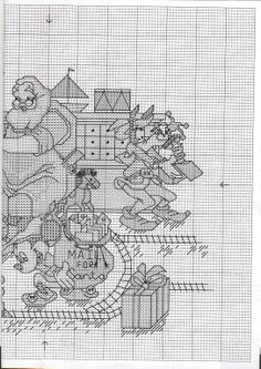 Cross-stitch - Santa with Mickey, Minnie, Pluto, and Goofy, part 2 of 3...  color chart on part 3
