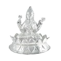 Jpearls Pure Silver Lotus Laxmi Idol | Silver Statues / Murtis of Indian Gods