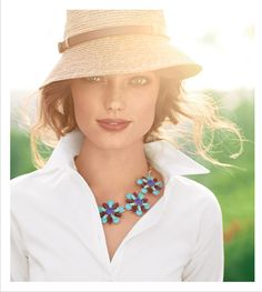 white blouse + colorful necklace