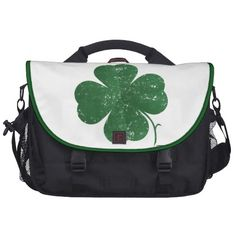 Large Shamrock - vintage style Laptop Messenger Bag   •   This design is available on t-shirts, hats, mugs, buttons, key chains and much more   •   Please check out our others designs at: www.zazzle.com/ZuzusFunHouse*