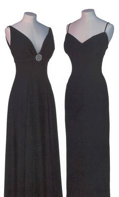 Two full-length black evening dresses owned by Marilyn.