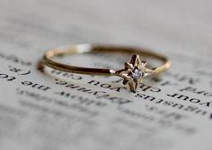 14 k Diamond Star Ring Poolster Ring sierlijke Ring solide