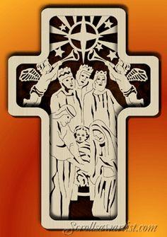 noah's ark scroll saw pattern | Nativity cross shadow box