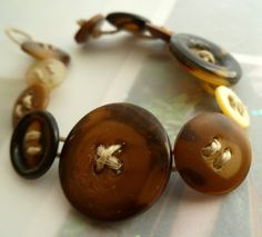 Recycled Vintage Button Bracelet. $12.00, via Etsy.