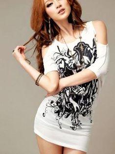 b0c020736ce0b White Off Shoulder Tribal Print T Shirt on Luulla by ana9112