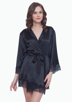 Faballey SATIN ROBE WITH LACE