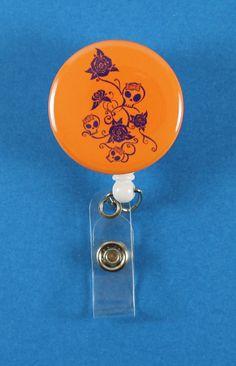 skulls and roses orangepurple button retractable badge reel id badge holder