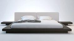 EXCELLENT DESIGN - Gray Leather and Wenge Brookline Platform Bed   Zuri Furniture