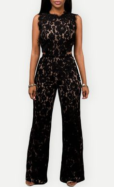 $49.99 Black Lace Nude Illusion Back Cutout Jumpsuit
