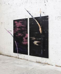 Romain Vicari, vision #2 : 170x100 cm x 2  - acrylique et huile sur toile, métal, résine et colorant, 2017.
