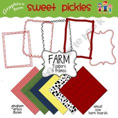 Cowboy and Farm background papers and frames