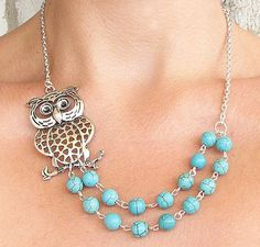 Owl Necklace Owl Jewelry Silver Necklace Turquoise by zafirenia