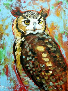 Owl painting 124 18x24 inch original oil painting by Roz