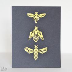 Bees : Original Block Print by Andrea Lauren via Andrea Lauren. Click on the image to see more!