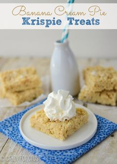 These Banana Cream Pie Rice Krispie Treats taste just like banana cream pie and are even filled with crust!