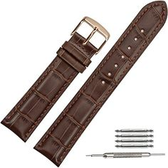ab1e78767e88 TStrap Leather Watch Band 20mm Brown Watch Straps With Rose Gold Butterfly  Deployant Clasp